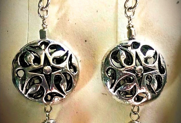 Sterling Silver Ear Wires w Sterling Plated Filigree Disk and Blue Pearl