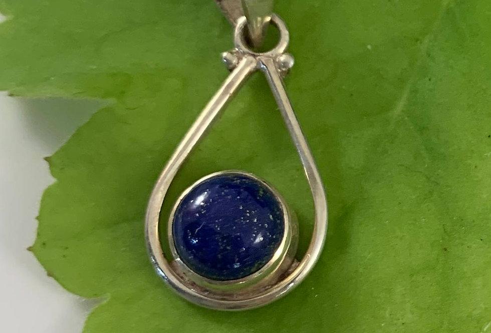 Lapis & Sterling Silver Pendant, Teardrop