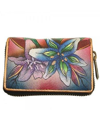 """Luscious Lilies Denim""  Accordion Style Card Holder, by Anuschka"
