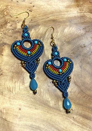 Majestic Blue (mageftikó ble) - Handmade Greek Earrings
