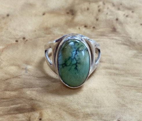 Green Turquoise & Sterling Silver Ring