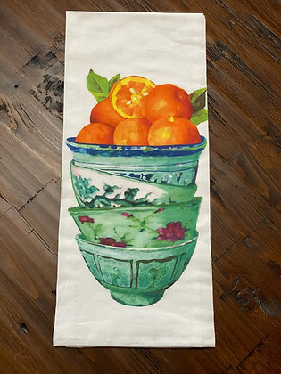 Orange Bowls - Original Art Dishtowel