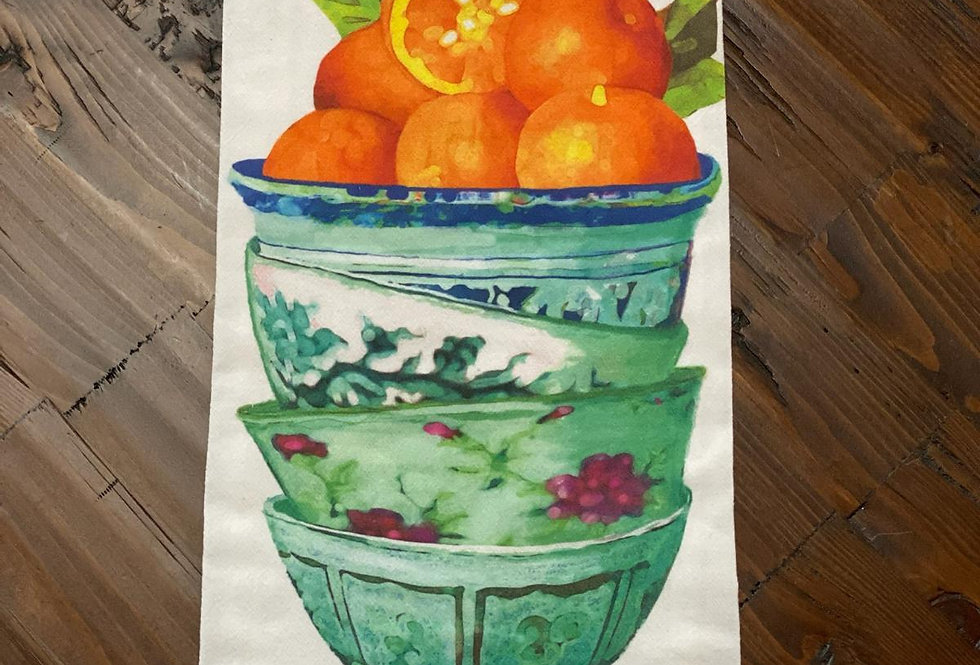 Orange Bowls - Original Art Dishtowel