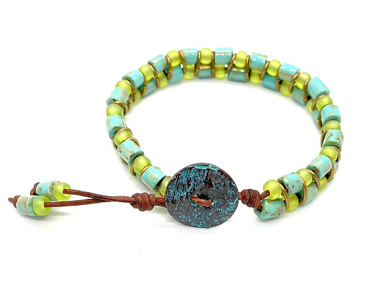 Turqouise & Lime Green Leather Bracelet