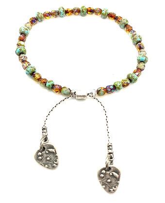 Tortoise Fire Polish Crystal Bead Bracelet