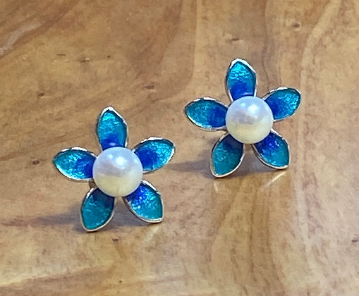 Cloisonné and Pearl Earrings Set in Sterling Silver.
