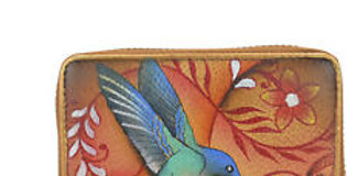 Flying Jewels Tan Accordion Style Card Holder, by Anuschka