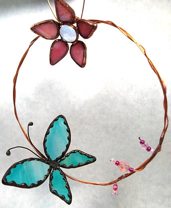 Blue Fantasy Butterfly & Pink Iridescent Flower