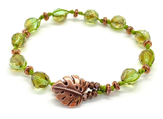 Copper Monstera Leaf Button Bracelet with Avacado Crystals