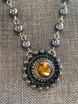 Ann Mooney Design Golden Crystal and Glass Pearl Necklace