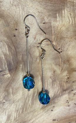 Teal Swarovski Long Drop Earrings