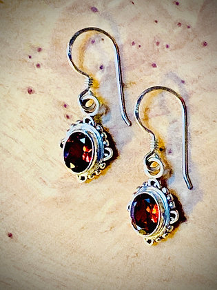 Oval Faceted Garnet Earrings