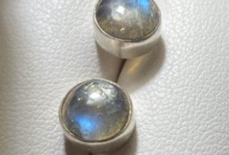 Labradorite Cabochon Sterling Silver Stud Earrings