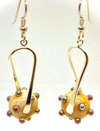 Silver Dotted Champagne Lampwork Dangles