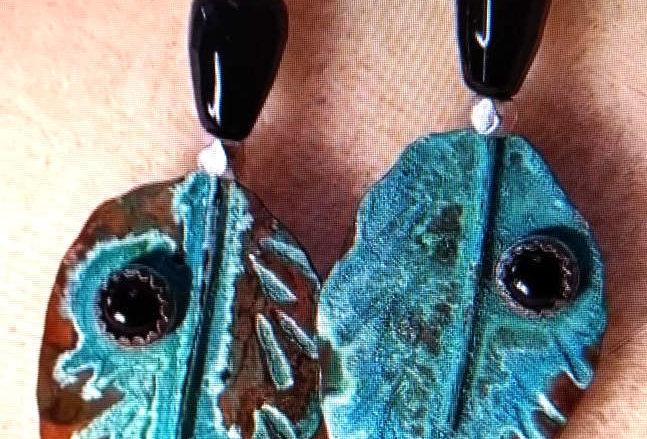 Onyx & Copper Earrings