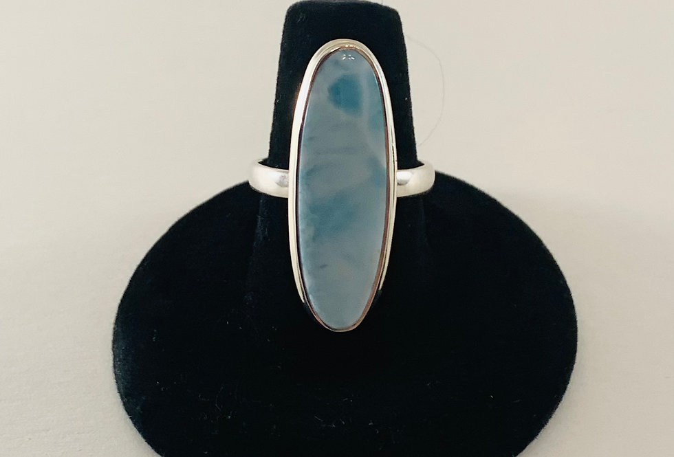 Tall Larimar & Sterling Silver Ring