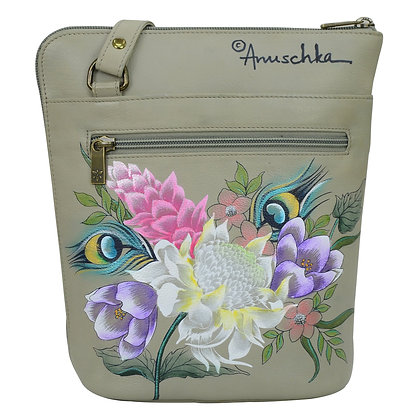 **Regal Peacock Organizer Crossbody with Extended Side Zipper, by Anuschka