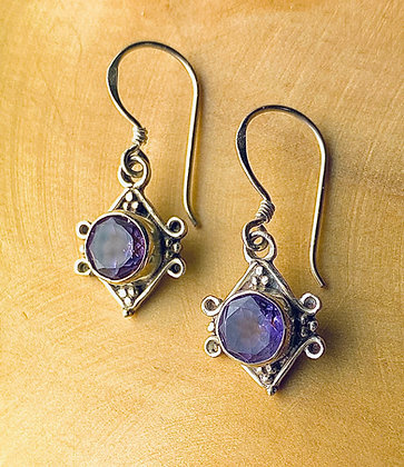 7mm Amethyst Dangle Earrings set in Sterling Silver