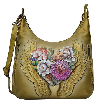 *Angel Wings Convertible Slim Hobo With Crossbody Strap, by Anuschka
