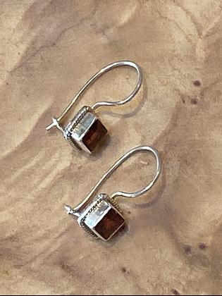 5mm Square Garnet Earrings Bezel Set in Sterling Silver