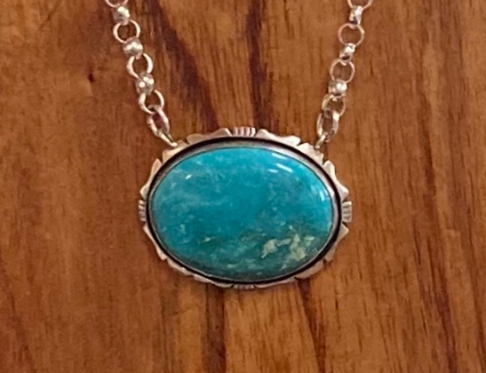 Turquoise Cabochon & Sterling Silver Necklace