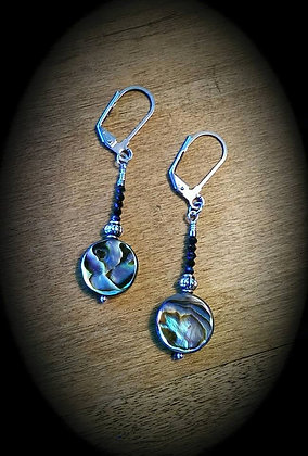 Surgical Steel Ear Wire with Abalone and Peacock Pyrite