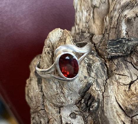 6x8 Bezel Set Oval Faceted Garnet Ring