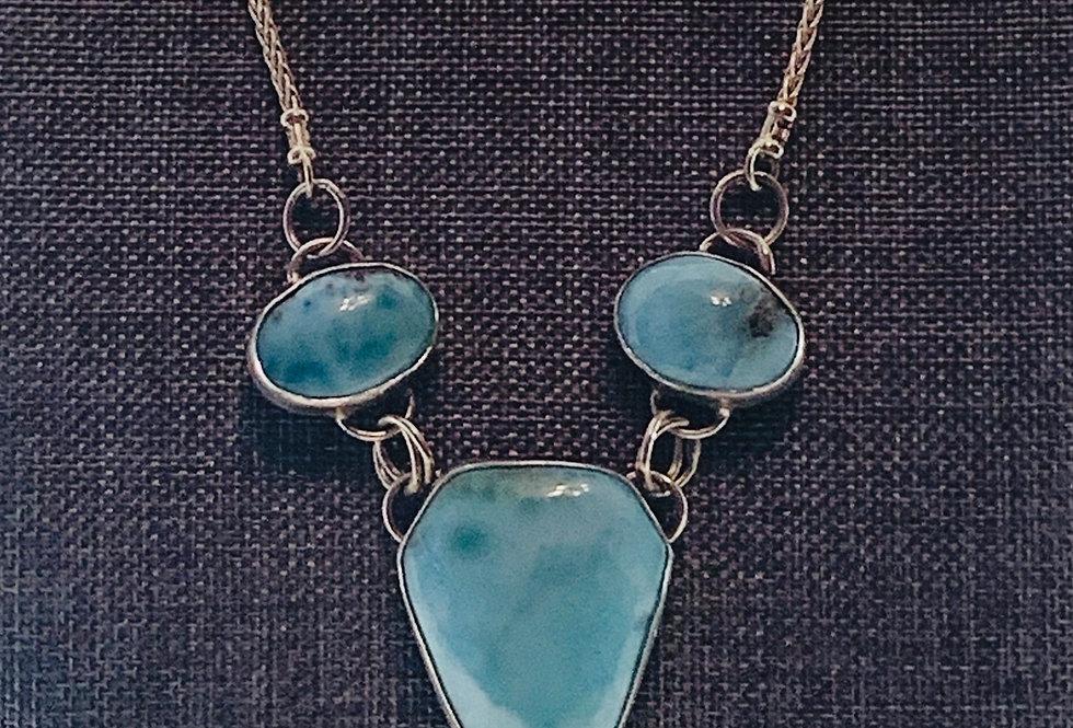 Larimar & Sterling Silver Triple-Gem Necklace