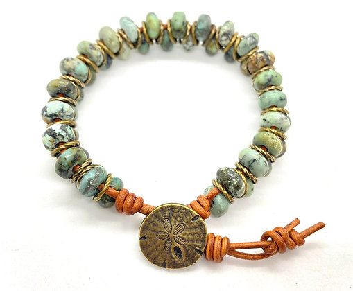 African Turquoise Rondel Bracelet with Sand Dollar Button