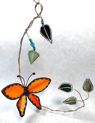 Orange Butterfly Fantasy Sun-Catcher