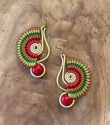 Phoenix (Foínix) - Handwoven Greek Earrings