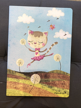 cahier A4 Dancing Cat On Meadow Lined