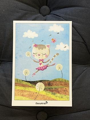 Carte postal Dancing Cat On Meadow