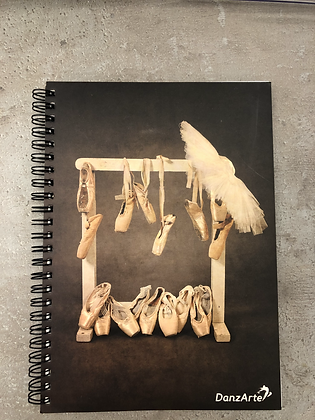 NoteBook A5 spiral Lined Hanging Pointe Shoes