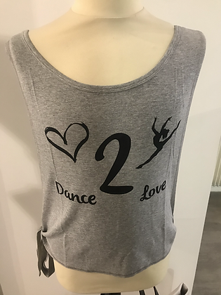 """Skazz Débardeur à nouer """"Love 2 Dance"""" Gris"""