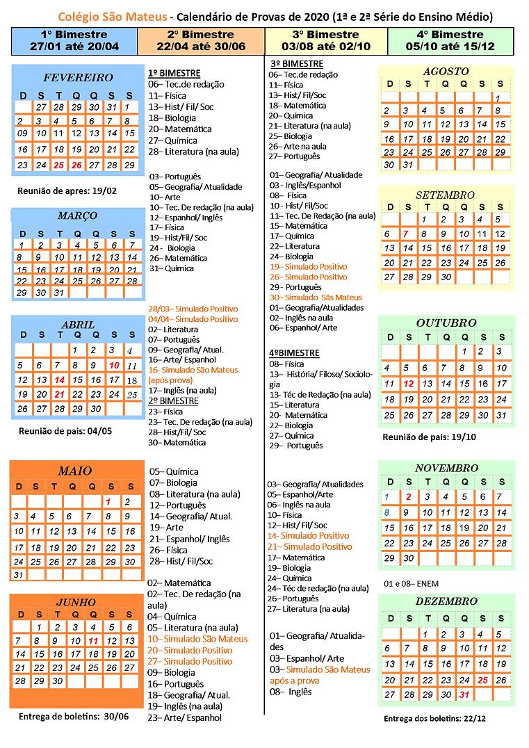 calendário de provas 2020 - 1º e 2º EM.p