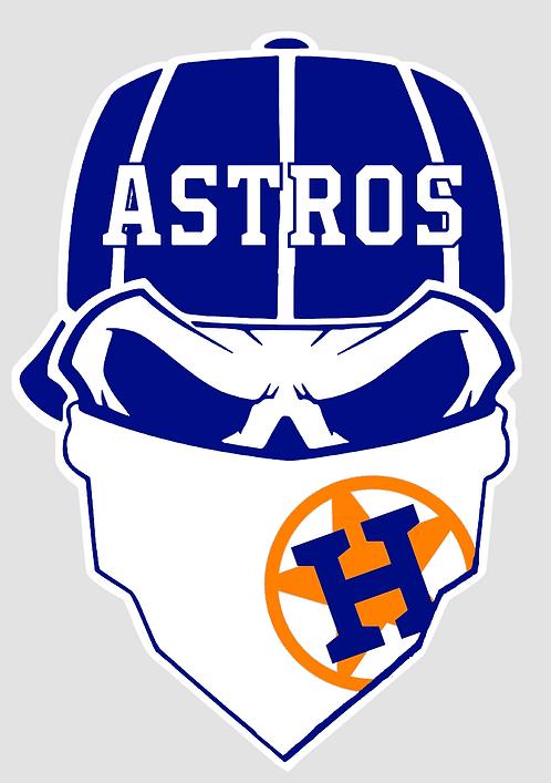 Houston Astros Skull Baseball cap layered decal Blue, orange and white