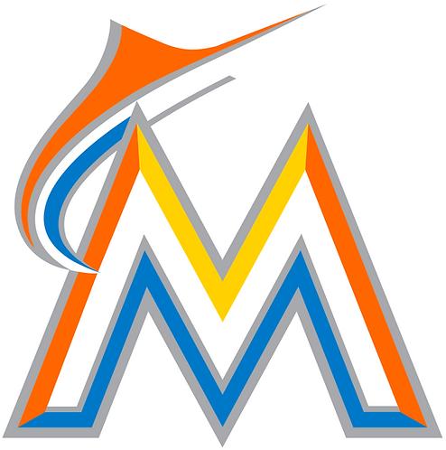 miami marlins logo, capital M, Marlin, orange, yellow, blue