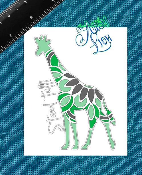 Stand Tall Mandala Giraffe White background