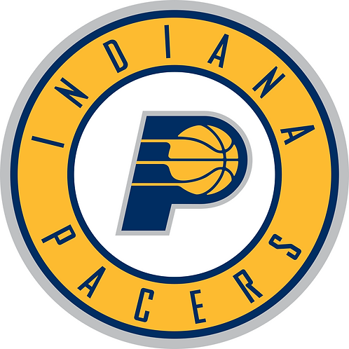 Indiana Pacers, circle logo, P with basketball, yellow navy white