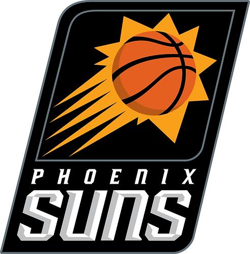 Phoenix Suns, black, gold, orange, basketball, rectangle