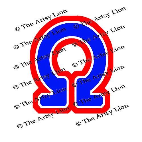 Omega Greek letter 3 color/3 layers