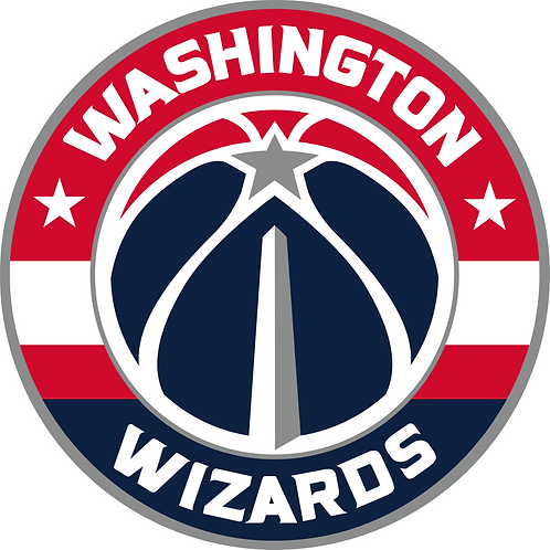 Washington Wizards, basketball, red, white, navy in circle