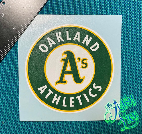 Oakland A's Athletics circle logo in green, yellow and white