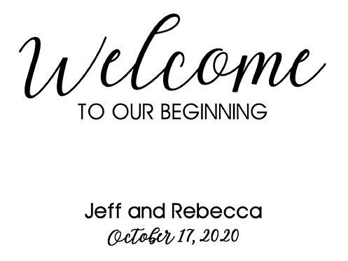 Welcome to our beginning sign with names and date