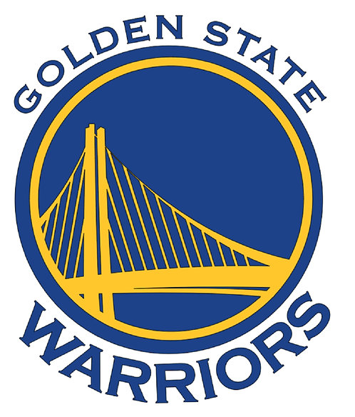 Golden State Warriors, circle with bridge, yellow, blue