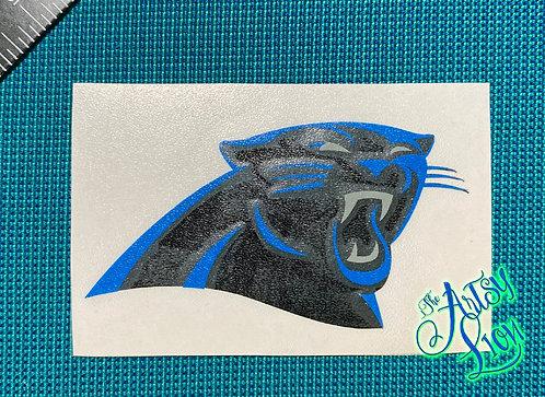 Carolina panther logo layered in black and blue