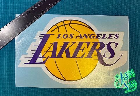 Los Angeles Lakers logo basketball layered in yellow, purple, white