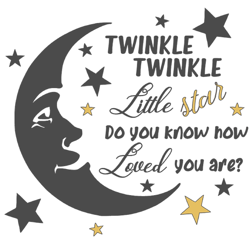 Twinkle Twinkle little star 1 layer decal moon and stars
