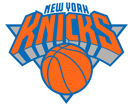 New York Knicks logo, orange, blue grey basketball